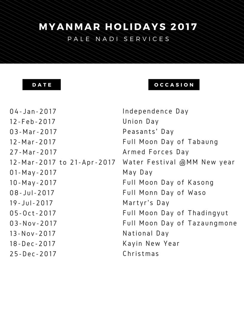 Myanmar 2017 Holidays